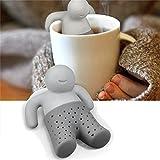 Formemory 2 Stück Mr.Tea in grau Teesieb, Silikon lustiges Teesieb Tee Ei Sieb Silikon wiederverwendbar.