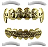 Coffret de dents Hip Hop contenant des grillz avec des crocs et des croix en plaqué or 24 carats pour la partie supérieure et inférieure de la bouche + 2 gouttières de fixation supplémentaires