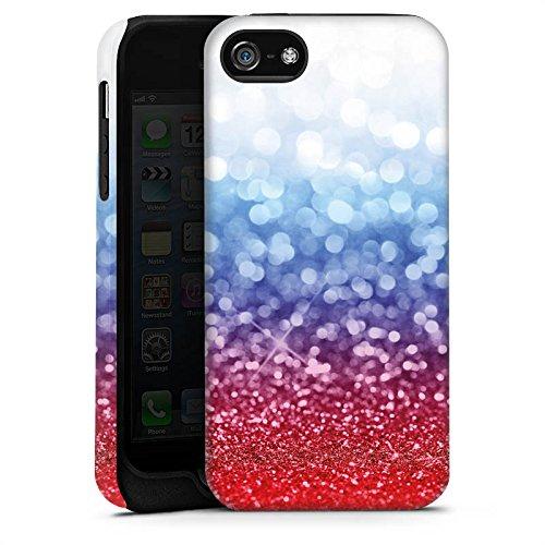 Apple iPhone 5s Housse Étui Protection Coque Russian Glitter Paillettes Drapeau Cas Tough terne