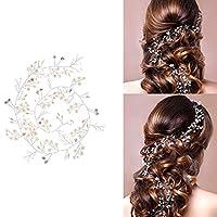 CozofLuv 50CM or 100CM Vintage Bridal Headbands Crystal Pearl Vine Headpiece Wedding Hair Accessories Decoratio (Silver, 100cm)