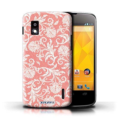 Kobalt® Imprimé Etui / Coque pour LG Nexus 4/E960 / Fleurs Rouges conception / Série Fleurs Fond Rouge