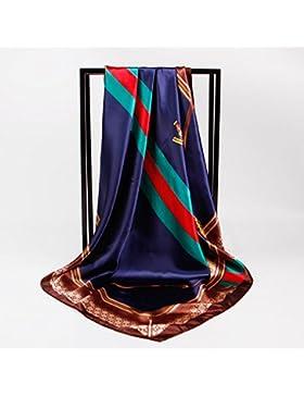 Nueva Moda Mujer Azul Satin-Silk impreso mantón bufanda cuadrada 35*35cm.