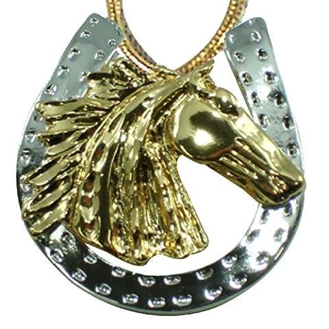 Exselle Two-Tone Head-Horseshoe Pendant