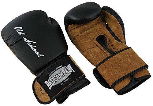 Bad Company Boxhandschuhe aus Leder I Modell Old School I Für das Boxtraining, Sparring und Wettkampf-Boxen I Gewichtsklasse 12 oz I Schwarz/Braun -