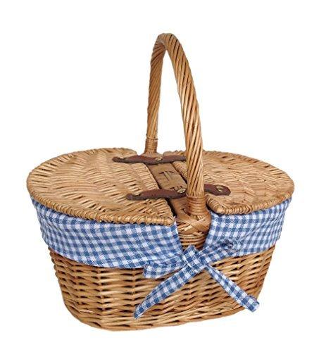 Oval blau gesäumt Picknickkorb