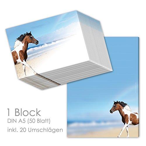 Schreibblock/Briefblock'PAINTHORSE' DIN A5 (liniert 50 Blatt) inklusive 20 passenden Umschlägen/Briefpapier Pferd/Briefpapier für Mädchen