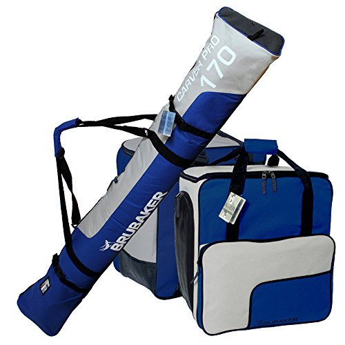 BRUBAKER Sac à chaussures de ski 'Super Function' et Housse à skis 'Carver Pro' pour 1 Paire de skis + Bâtons + Chaussures + Casque - 190 cm - Bleu / Argenté