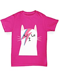 TWISTED ENVY Girl's Rock And Roll Cat Printed Cotton T-Shirt