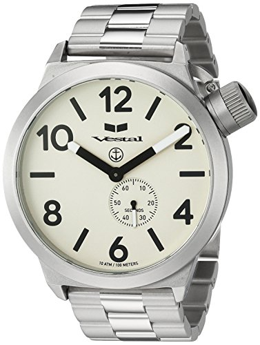 Vestal 'Canteen Metal' Quartz Stainless Steel Casual Watch, Color:Silver-Toned (Model: CNT453M05.3SVX)