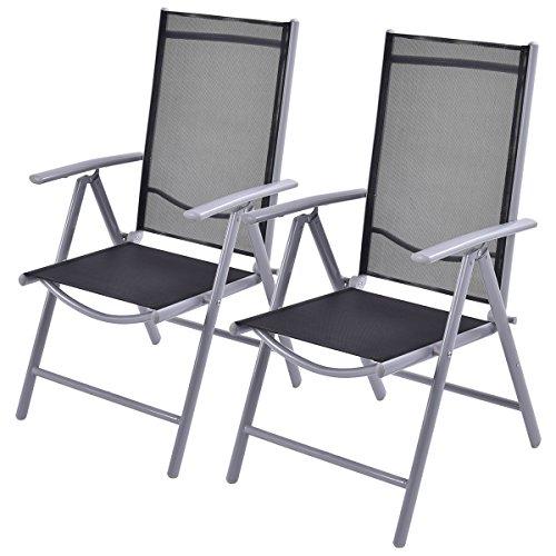 COSTWAY 2er Set Klappsessel Gartenstuhl Aluminium Hochlehner Klappstuhl Terrassenstuhl Relaxsessel Campingstuhl klappbar 7- Fach