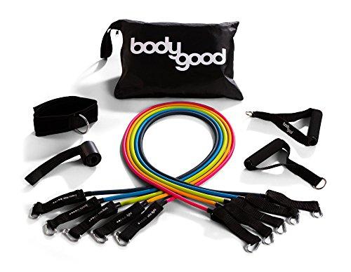 Tube Band Set. 10-Teilige Set beinhaltet 5Übungsbänder, 2Griffe, Tür Anker, und Knöchelriemchen. Best für Home Gym Training & Fitness Training. Lieferung mit Anleitungs Video ()