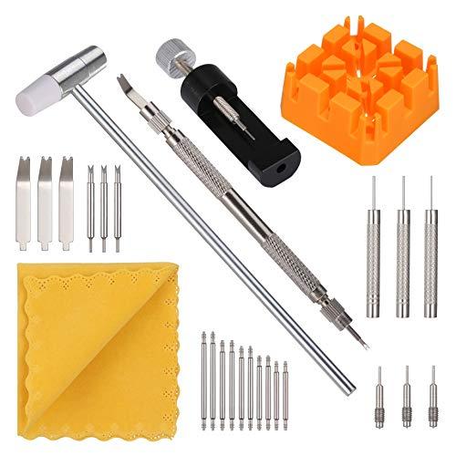 Uhrenarmband Werkzeug, KWOKWEI Uhr Reparaturset mit Pin Entferner, Uhrenwerkzeug mit Armbanduhr Band-Halter und Hammer, Uhrmacherwerkzeug mit Federsteg Werkzeug für Uhrenband Reparieren, Einstellen