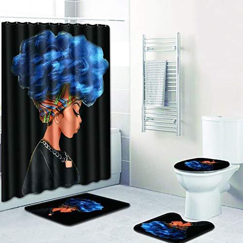 XZDCDJ WC-Sitz High-Gloss Badezimmerteppich Set 4 STÜCKE Meer Stil rutschfeste Wc Polyester Abdeckmatte Set Badezimmer Duschvorhang 4 - Duschvorhang-sets Meer