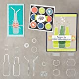 HoEOQeT 19 Stücke Metall Blase Trinken Flasche Stroh Stanzformen Metall Präge Schablone Form Vorlage für DIY Scrapbook Album Papier Karte Machen Kunst Handwerk Decor