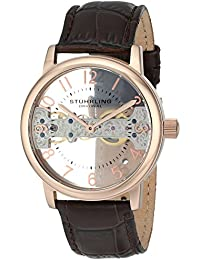 Stuhrling Original Legacy 680 Men's Mechanical Watch with Rose Gold Dial Analogue Display and Brown Leather Strap 680.02