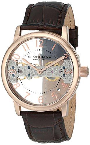 Stuhrling Original Legacy 680 680.02 - Montre Mécanique - Affichage Analogique - Bracelet Cuir Marron et Cadran Rose - Hommes