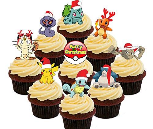Pokemon Weihnachten Party Pack–Essbare Cupcake Topper–Stand-Up Wafer Kuchen Dekorationen, Pack of 36