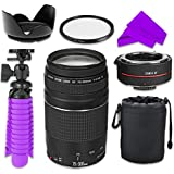 Professional Accessory Kit With Canon EF 75Ð300mm F/4Ð5.6 III Zoom Lens Bundle W/Auto Focus 2X Teleconverter Lens And High Definition UV Filter For Canon EOS Rebel SL1 Digital SLR Camera