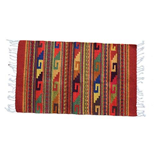 Teppich Vintage 100x60 cm in Rot, Terrakotta, Braun - Naturfarben | Handarbeit | Teppich aus Wolle handmade (Roten Teppich 100)