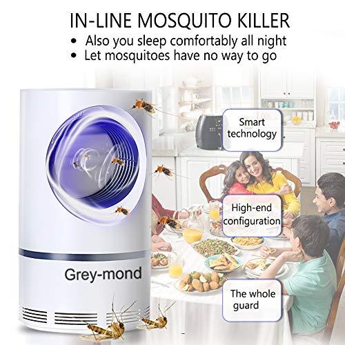 Grey-mond Lámpara Antimosquitos - 5W Trampas para Insectos Matamoscas/Mata Mosquitos Eléctrico para Proteger a los niños, Mata Insectos con 368NM Luz Ultravioleta USB LED, Sin Productos Químicos