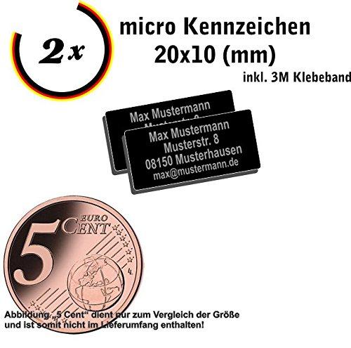 Gravierwerkstatt-Salomon 2X Micro Drohnen Kennzeichen Aluminium elox. 20x10mm mit hochwertiger Lasergravur inkl. Klebestreifen (20x10)