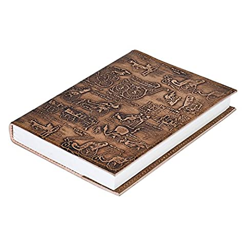RUSTIC TOWN Refillable Handmade Vintage Antique Looking Genuine Leather Journal Diary Notebook for Men Women Gift for Him Her (Golden Brown