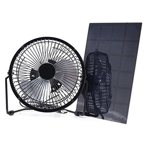 Unbekannt Solar Panel Powerd USB Eisen Fan Outdoor Home Office Kühlung Ventilatio Für Camping Wandern Picknick 5 Watt 8 Zoll 6 V