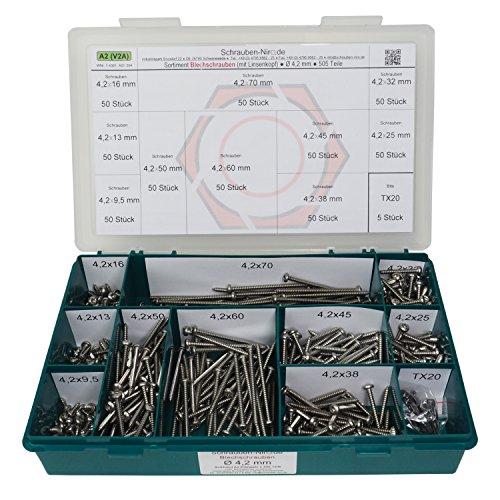 Sortiment Linsenkopf-Blechschrauben Edelstahl 4,2 mm Durchmesser - ISO 14585 / DIN 7981 - Linsenblechschraube mit Innensechsrund (Torx) T20 - Werkstoff A2 (VA / V2A) - 505 Teile