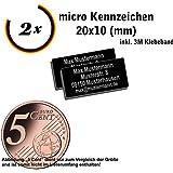 Gravierwerkstatt-Salomon 2X Micro Drohnen Kennzeichen Aluminium elox. 30x10 / 25x10 / 20x10(mm) mit Hochwertiger Lasergravur inkl. Klebestreifen