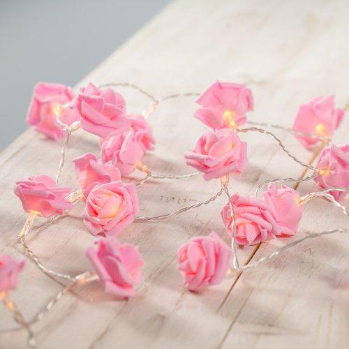 Guirlande Lumineuse avec 30 Fleurs Roses à LED Blanches Chaudes