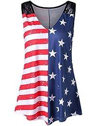 Camisetas verano mujer,❤️Ba Zha Hei Chaleco con cuello en V de encaje con estampado de bandera nacional Vestido de…