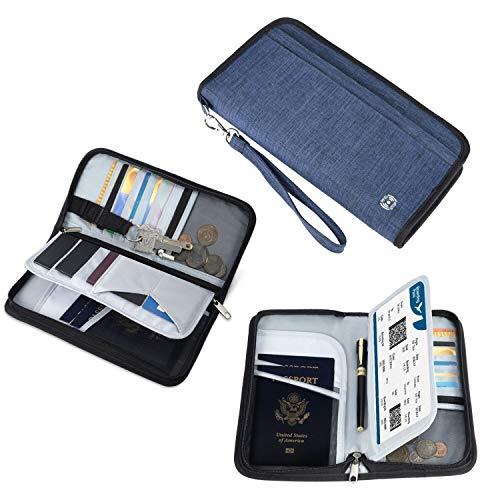 Vemingo Porte-Passeport Portefeuille de Voyage Familial avec Blocage RFID Porte-Document Pochette de 5 Passeports, Carte d'Identité, Carte de Crédit, Billets d'avion pour Femme Homm