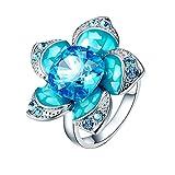 Gnzoe Schmuck Glänzend-Elemente Damen Ringe Blumen Form Trauringe Solitärring mit Blau Zirkonia Gr.52 (16.6)