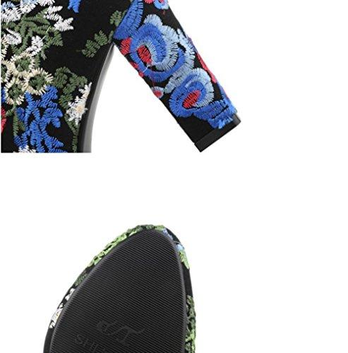 Best 4U® Scarpe da donna in pelle scamosciata Microfibra Stivali autunnali in gomma Suola rotonda Punta tondeggiante Martin Stivali Fiore ricamo Blue