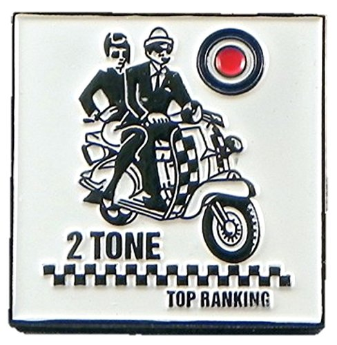 Metal Enamel Pin Badge Brooch Ska Two Tone Top Ranking MOD Scooter Riders