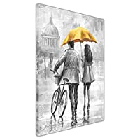 Couple Holding Coloured Umbrella Black and White Black and White Framed Canvas Wall Pictures Home Decoration Art Prints