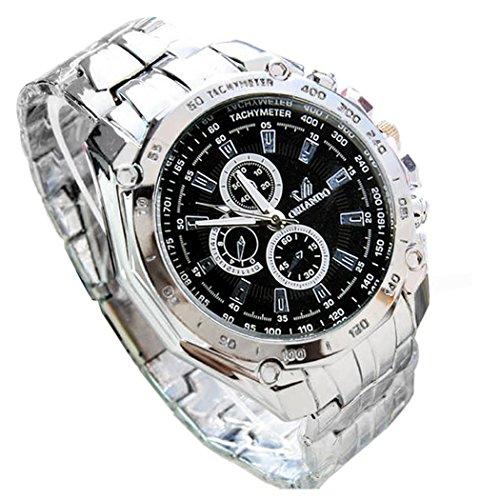 Preisvergleich Produktbild Zuionk Herren Edelstahl Armbanduhren Sportuhr Business Quarzuhr(Schwarz)