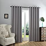 Qinuo Home Alaska Super Soft Weave Ready Made Thermal Insulated Grommet to Curtains Blackout Decorative Curtains for Living Room Curtains with Two Free Tiebacks (1 Pair 90 inch by 90 inch, Silver)