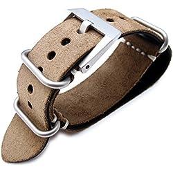 MiLTAT 24mm Nubuck Leather Grezzo Zulu watch strap Brown Thick armband - Beige Hand Stitch