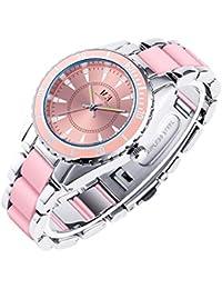 Lujoso Reloj de Pulsera para Mujer de Acero Inoxidable con Mecanismo de Cuarzo y Pulsera con Cristales engarzados, Redondo,…