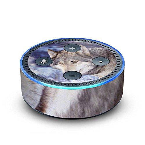 amazon Echo Dot 2.Generation Folie Skin Sticker aus Vinyl-Folie Schnee Snow Wolf