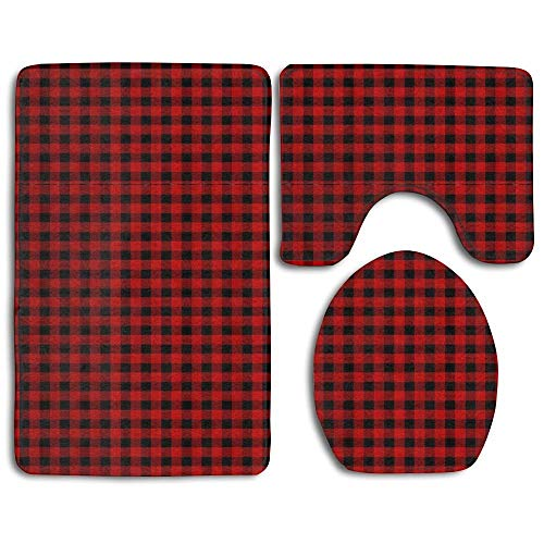 mchmcgm Custom Rustic Red Black Buffalo Check Plaid Pattern 3-teilig Soft Bath Rug Set Includes Badezimmer Fußabtreter Contour Rug Lid Toilet Cover Home Decorative Fußabtreter 3 Buffalo