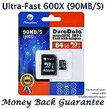 64GB Micro SD Karte Plus Adapter (Class 10 UHS-I MicroSDXC Extrem Pro Speicherkarte) 64 GB Ultra Schnelle Geschwindigkeit 90MB/s 600X UHS-1 Microsd SDXC Pack. Amplim® 64G Hochleistungs Handy TF G5