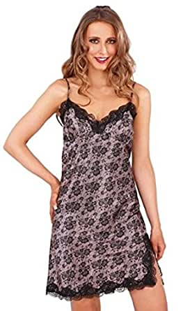 Ladies Satin Print Chemise Nightdress with Lace Trim in Black over Taupe Large