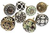 Vintage-Chic MANGO-127 Lot de 8 boutons de tiroir shabby chic variés en céramique