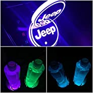 LED Car Logo Cup Holder Lights, 7 Colors Changing USB Charging Mat Luminescent Cup Pad, LED Interior Atmospher