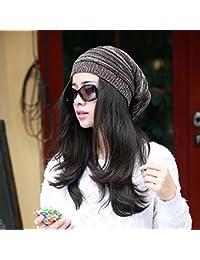 GGG Nouveau plissé ample bonnet chapeau mode hiver chaud unisexe extérieur calotte- Café