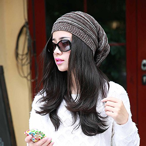 GGG New Oversized Plicate Baggy Beanie Hat Fashion Winter Warm Unisex Outdoor Cap- Coffee