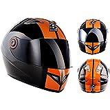 SOXON ST-666 Deluxe Night Moto Sport Moto-Casque Cruiser Scooter Fullface Urban Helmet Casque Integral, ECE certifiés, compris le sac de casque, Noir/Orange, M (57-58cm)