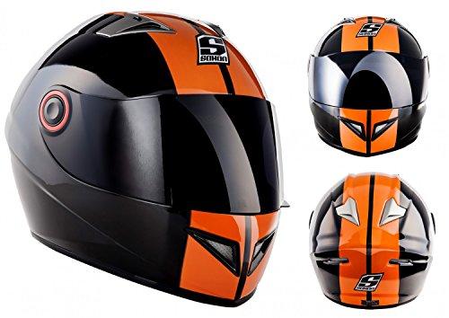 SOXON ST-666 Deluxe Night · Moto Cruiser Sport Scooter Urbano Urban Helmet Casco Integrale · ECE certificato · compresi parasole · compresi Sacchetto portacasco · Nero/Arancione · XL (61-62cm)